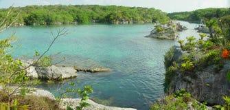 Xel-Ha do panorama da lagoa, México Imagem de Stock