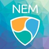 XEM blockchain cripto货币NEM传染媒介商标 免版税库存照片