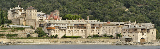 Xenofontos monaster przy górą Athos Greece Obrazy Royalty Free