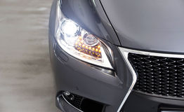 Xenon headlights. On a expensive japan car royalty free stock photography