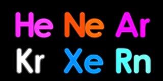 Xenon, neon, argon, krypton, radon, helium element symbol.  Royalty Free Stock Photo