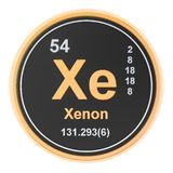Xenon Xe chemical element. 3D rendering. Isolated on white background royalty free illustration