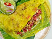 Xeo di Banh di nome dell'alimento della via Fotografia Stock