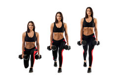 Xercises with dumbbells stock photo