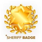 Xerife Badge Vetora Estrela dourada Emblema de Sevurity objeto retro ilustração 3d realística ilustração royalty free