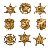 Xerife Badges de Golgen ilustração stock
