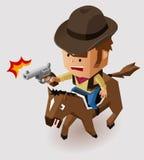 Xerife com o cavalo de equitação do revólver Imagens de Stock