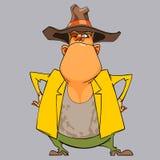 Xerife engraçado do homem dos desenhos animados nos braços eretos de um chapéu akimbo Imagens de Stock Royalty Free