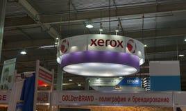 Xerox bås på den T--REXinternationell handelshowen 2013 royaltyfria bilder