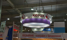 Xerox booth at REX 2013 International trade show. Of technologies, equipment, and materials for advertising production in Kiev, Ukraine royalty free stock images