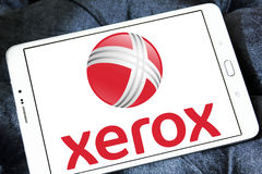 Xerox Corporation logo. Logo of Xerox company on samsung tablet . Xerox Corporation is an American global corporation that sells document solutions and services Royalty Free Stock Photos