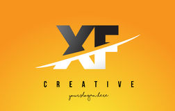 XF X F Letter Modern Logo Design with Yellow Background and Swoo Stock Image