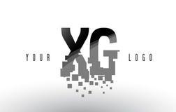 XG x logo de lettre de pixel de G avec les places noires brisées par Digital Image stock