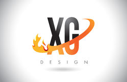 XG X G Letter Logo with Fire Flames Design and Orange Swoosh. Royalty Free Stock Image