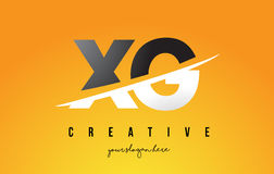XG X G Letter Modern Logo Design with Yellow Background and Swoo Stock Image