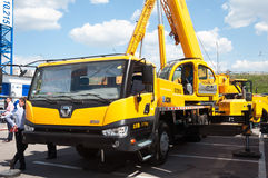 XGMA mobile crane on the exhibition in Moscow Royalty Free Stock Photography