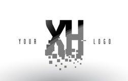 XH x logo de lettre de pixel de H avec les places noires brisées par Digital Photographie stock libre de droits