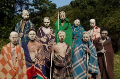 Xhosa boys undergoing ritual in South Africa. In one of the South African cultures, young men are forced to go through a rite of passage. This involved spending Stock Photography