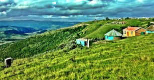 Xhosa Village on the Wild Coast of South Africa. Hiking the Wild Coast stock images