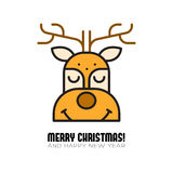 Xhristmas illustration. vector background. Vector illustration of a face of Rudolf Stock Images