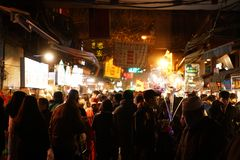 Xi'an Muslim`s Quarter Night. Just as its name implies, Moslem Street is the hub of the Moslem community in Xian City, Shaanxi Province. Located beside the Royalty Free Stock Images