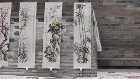 XI'AN-DEC 29:在街道selled的国画工作,2012年12月29日,西安市,陕西,瓷 影视素材