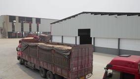 XI '- 6 DE JULHO: Trigo do transporte do caminhão no depósito da reserva de grão, o 6 de julho de 2013, cidade de Weinan, provínc video estoque