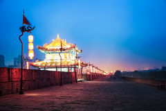 Xi'an ancient city wall at night Royalty Free Stock Photo