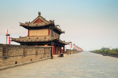 Xi'an ancient city wall. With tower at dusk , China Stock Photography