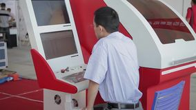 XI`AN - AUG 29:View of worker operating machine, Aug 29, 2013, Xi`an city, Shaanxi province, china. stock video