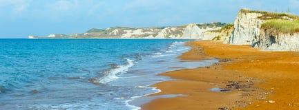 Xi Beach morning panorama (Greece, Kefalonia). Stock Image
