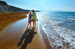 Xi Beach morning view and family (Greece, Kefalonia). Stock Photography