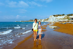Xi Beach morning view (Greece, Kefalonia). Stock Image