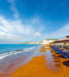 Xi Beach morning view Greece, Kefalonia. Royalty Free Stock Images