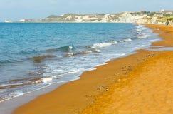 Xi Beach morning view (Greece, Kefalonia). Royalty Free Stock Photography