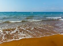 Xi Beach morning view (Greece, Kefalonia). Xi Beach with red sand. Morning view (Greece, Kefalonia). Ionian Sea Stock Photos