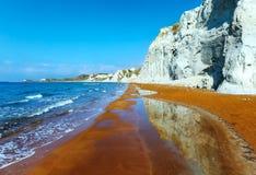 Xi Beach morning view (Greece, Kefalonia). Royalty Free Stock Photos