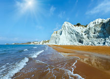 Xi Beach sunshiny view Greece, Kefalonia. Xi Beach with orange sand. Sunshiny view Greece, Kefalonia. Ionian Sea Stock Photography