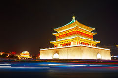 Xian bell tower_drum-tower_night_xian_shanxi Royalty Free Stock Images