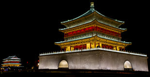 Xi'an Bell Tower Drum Tower night scene pictures. Xi'an historical buildings tower drum tower night pictures Royalty Free Stock Photos