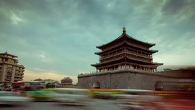 XI `AN, CHINA - April 12, 2013: Time lapse of Xi`an Bell Tower.  stock video footage