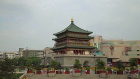 XI `AN, CHINA - April 12, 2013: Time lapse of Xi`an Bell Tower.  stock video