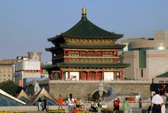 Xi'an, China: Bell Tower and Shopping Center Stock Photo