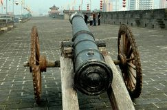 Xi'an, China:  Cannon on Ancient City Wall Ramparts Royalty Free Stock Photos
