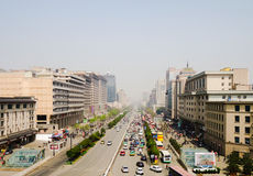 Smog and pollution in Xi'an, China. A view on the main street of Xi`an royalty free stock photos