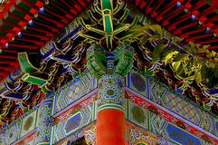 Xi'an, China: Colourful Pavilion at Da Xing San Temple. Xi'an, China:  Hand-painted decorative panels and interlocking woodwork ceiling at a pavilion of the Da Stock Photos