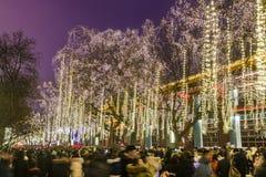 Xi ?, China - 13 Februari, 2019 De menigte bij Toneelvlek voor viert Chinees de lentefestival stock fotografie