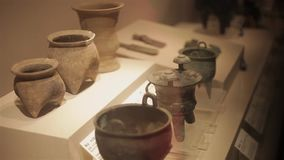XI`AN China-May 30 2012: Chinese ancient cultural relic display in Shaanxi Museum.  stock footage