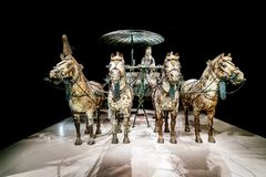 Qin Shi Huang tomb unearthed bronze chariot. Xi `an, China - on October 17, 2017: the world`s most famous Terra Cotta Warriors Bronze chariot,The eighth wonder Royalty Free Stock Photography