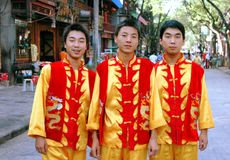 Xi'an, China: Three Restaurant Waiters Royalty Free Stock Image